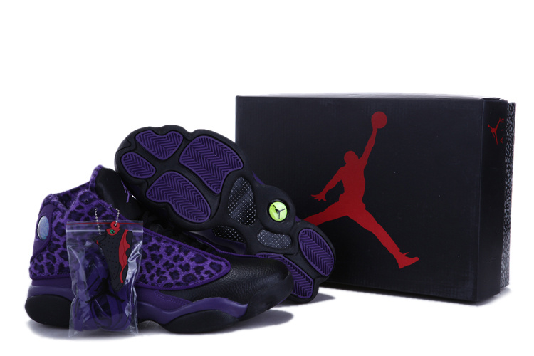 Authentic 2013 Air Jordan 13 Leopard Print Black Purple Shoes