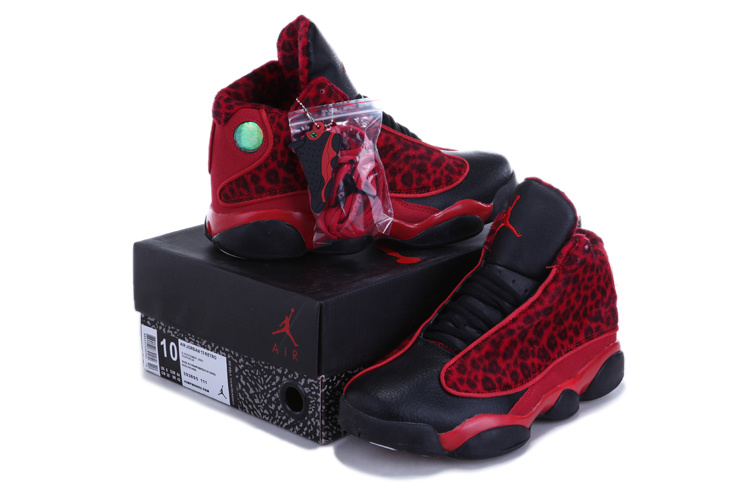Authentic 2013 Air Jordan 13 Leopard Print Black Red Shoes