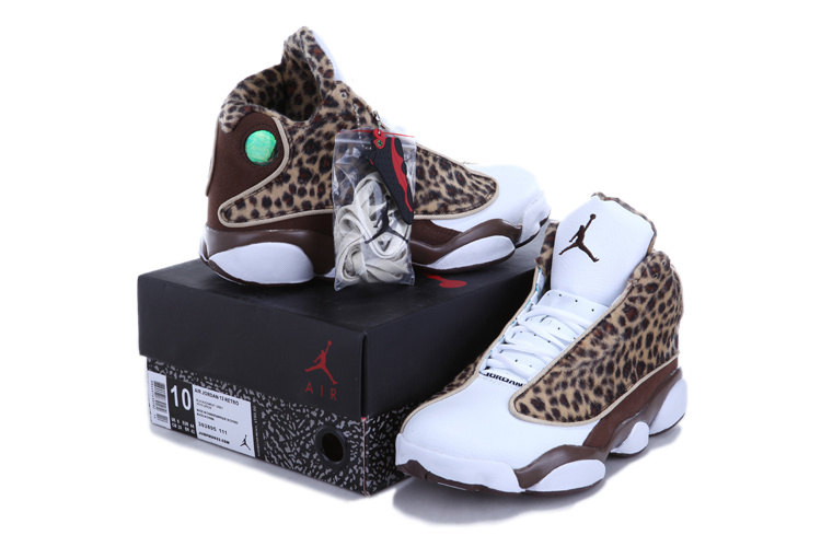 Authentic 2013 Air Jordan 13 Leopard Print White Coffe Shoes