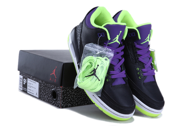 Authentic Jordan Retro 3 Black Green Purple Shoes