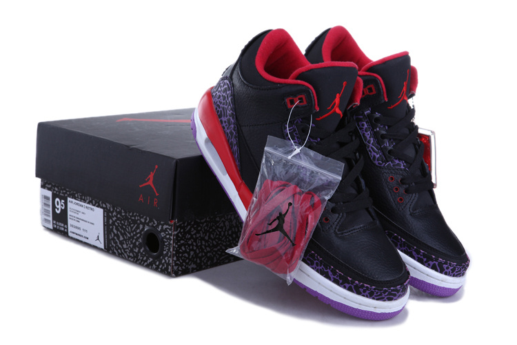 Authentic Jordan Retro 3 Black Red White Shoes