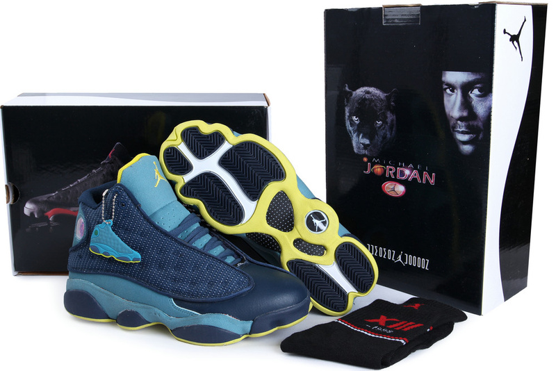 Hardback Authentic Jordan 13 Blue Yellow Shoes