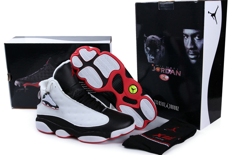 Hardback Authentic Jordan 13 White Black Red Shoes