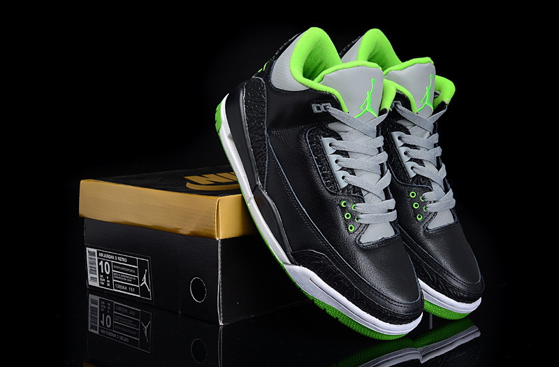 New Authentic Jordan 3 Black Green Shoes