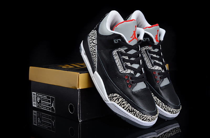 New Authentic Jordan 3 Black Grey Cement Shoes