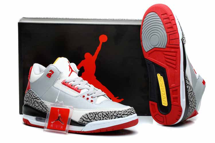 2014 Air Jordan Retro 3 White Grey Cement Black Red Shoes