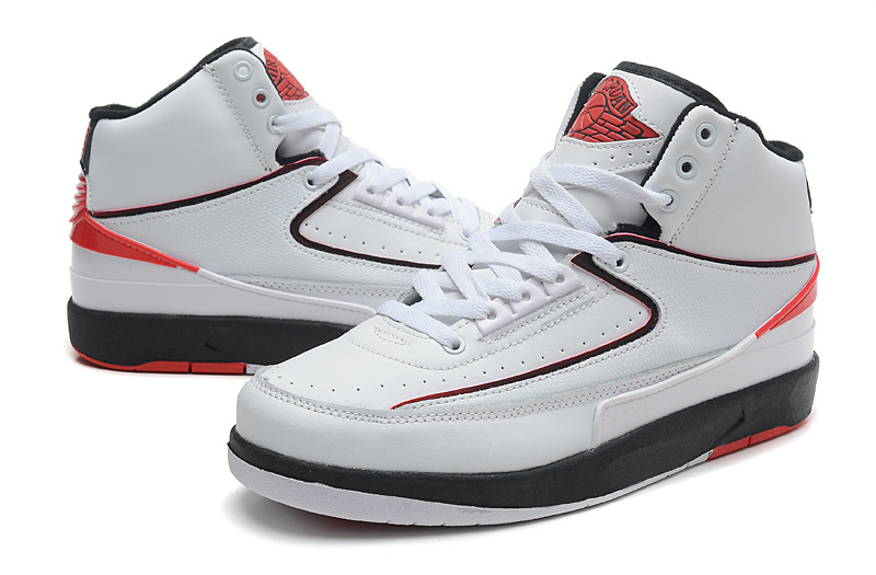 2014 Jordan 2 Retro White Black Red Shoes