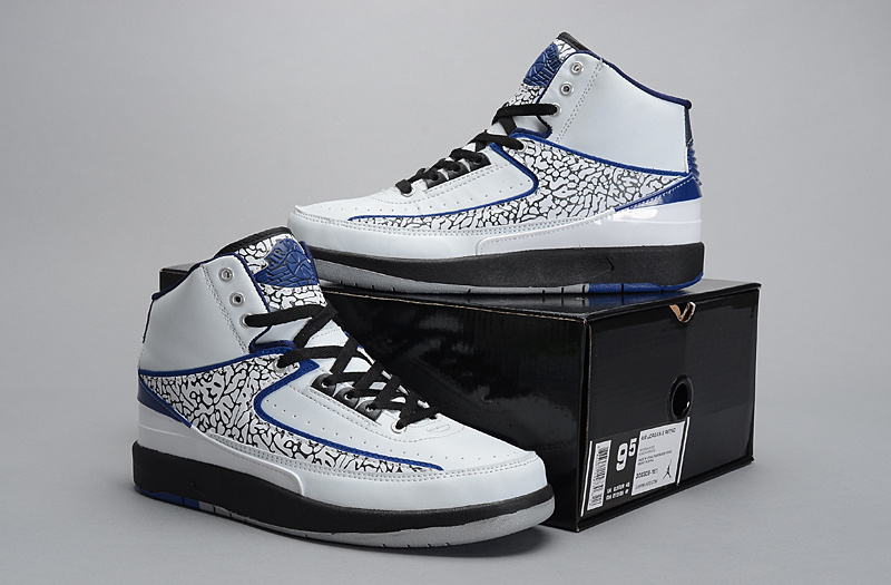 2014 Jordan 2 Retro White Grey Cemment Black Blue Shoes