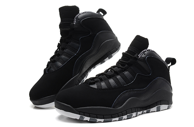 2014 New Jordan 10 Retro Transparent Sole All Black Shoes