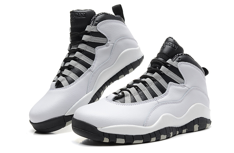 2014 New Jordan 10 Retro Transparent Sole White Black Shoes