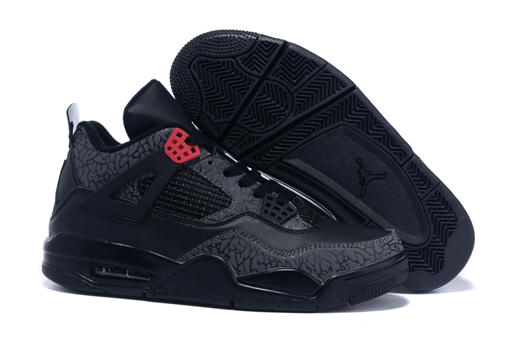 Real 2015 Air Jordan 4 Follow Print Black Red Shoes