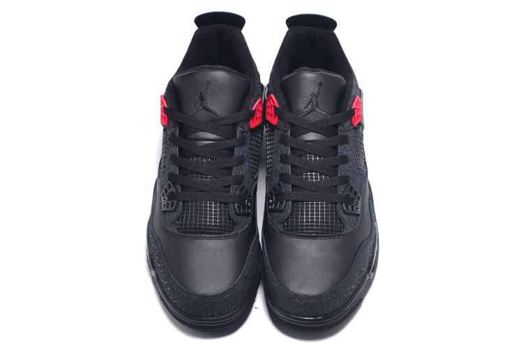 New Air Jordan Retro 4 Crack Print All Black Lovers