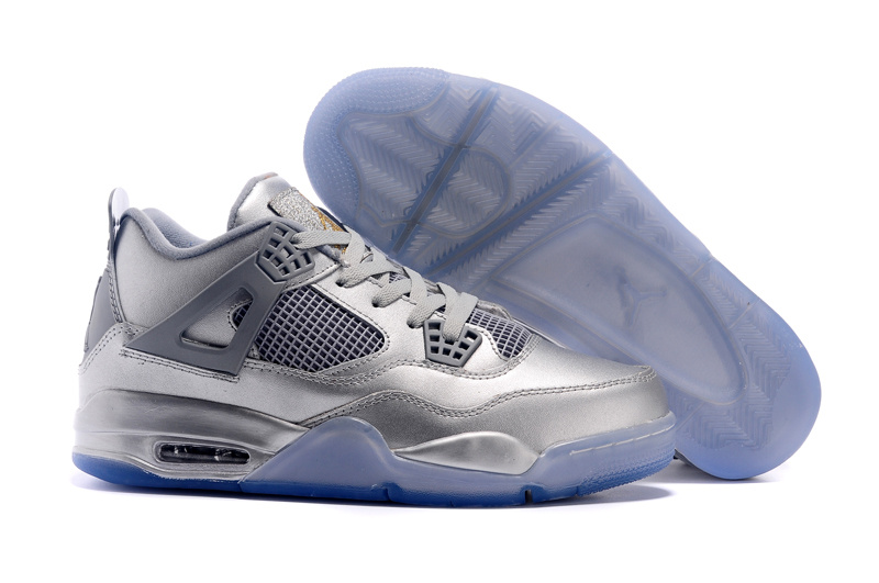 2015 Air Jordan 4 Liquid Metal Silver Shoes