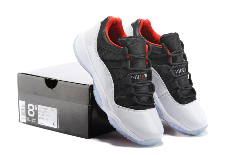 2015 Air Jordan 11 Low Black White Red Lover Shoes