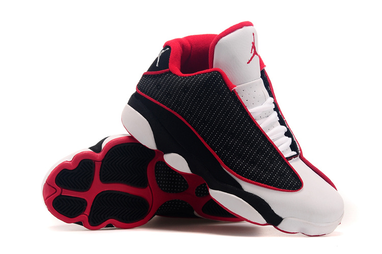 Cheap Real 2015 Air Jordan 13 Low Black White Red Shoes