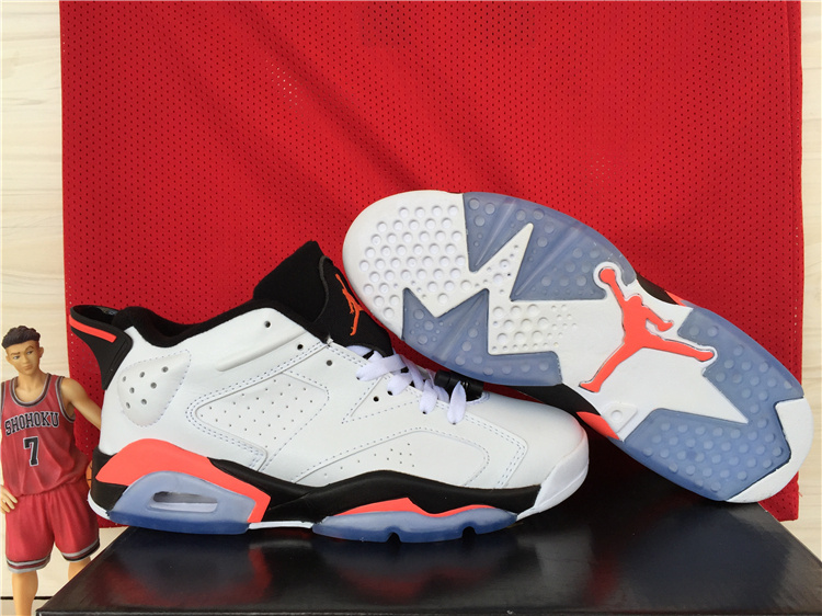 Cheap New Air Jordan 6 Low White Black Red Shoes