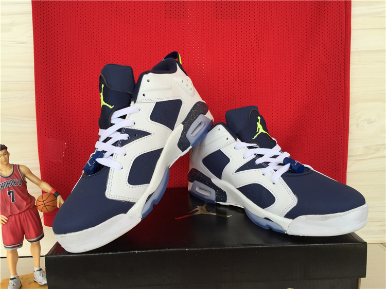 Cheap New Air Jordan 6 Low White Deep Blue Shoes