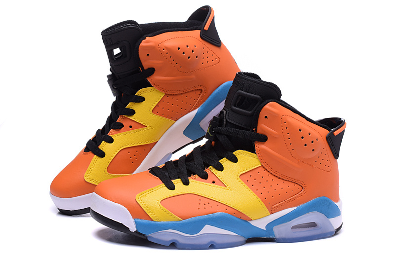 Cheap Real 2015 Air Jordan 6 OG Orange Yellow Blue Shoes