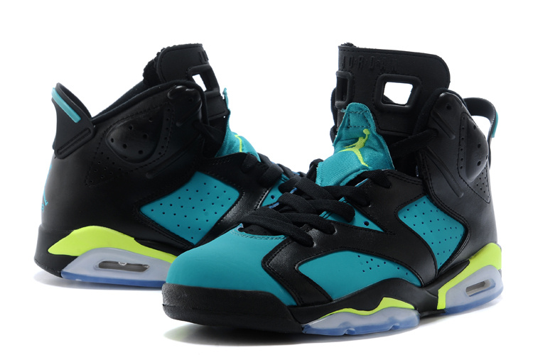 2015 Air Jordan 6 Retro Black Blue Fluorscent Lover Shoes