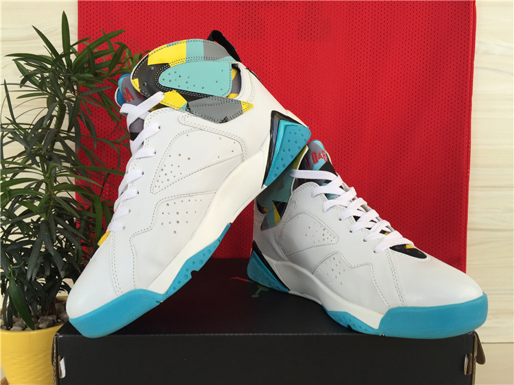 Cheap Real 2015 Air Jordan 7 White Baby Blue Yellow Shoes