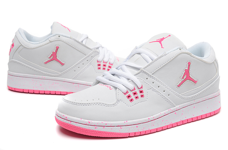 Real Air Jordan 1 Flight Low White Pink Shoes