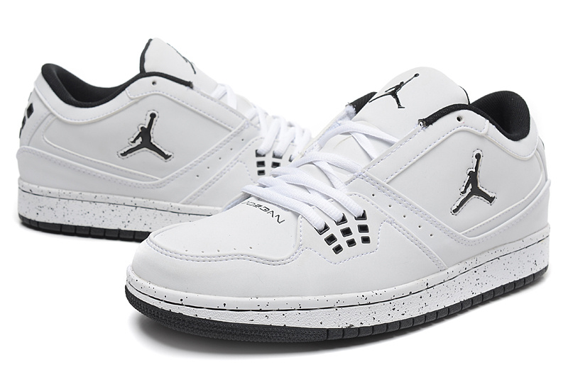 Real 2015 Air Jordan 1 Low White Black Jumpman Shoes