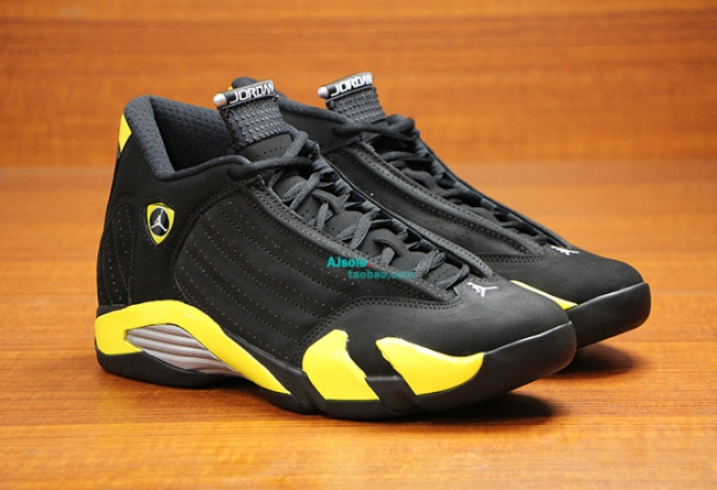Real 2015 Air Jordan 14 Retro Black Yellow Shoes