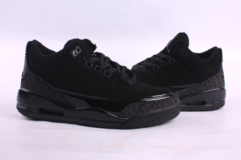 Real Air Jordan 3 Retro All Black Lover Shoes