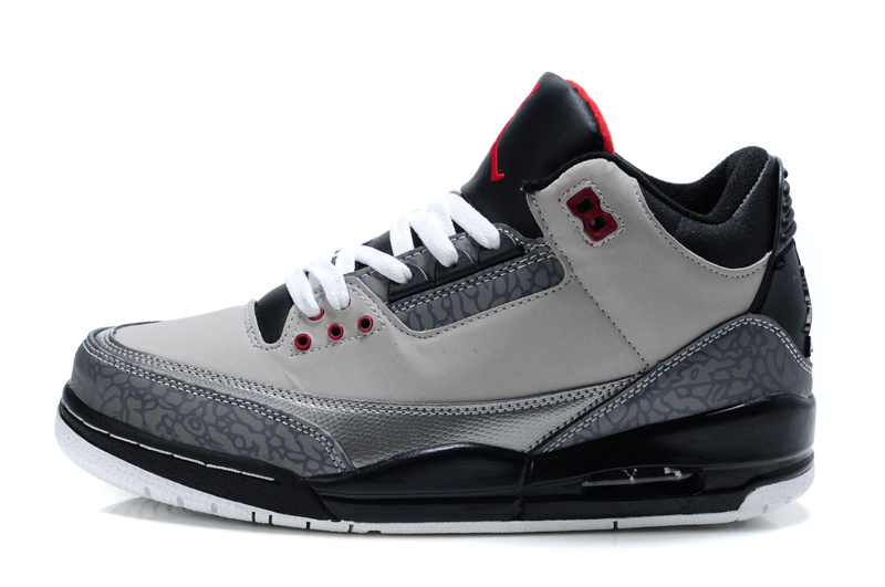 Real Air Jordan 3 Retro Grey Black Red Lover Shoes