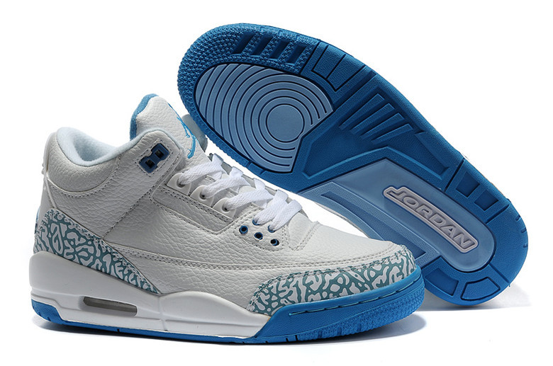 Real Air Jordan 3 Retro Grey Blue Lover Shoes
