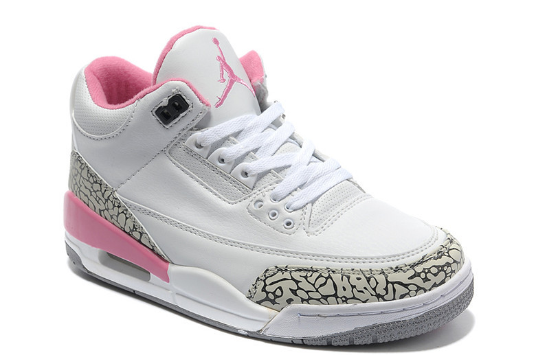 Real Air Jordan 3 Retro White Cement Grey Pink Women Shoes