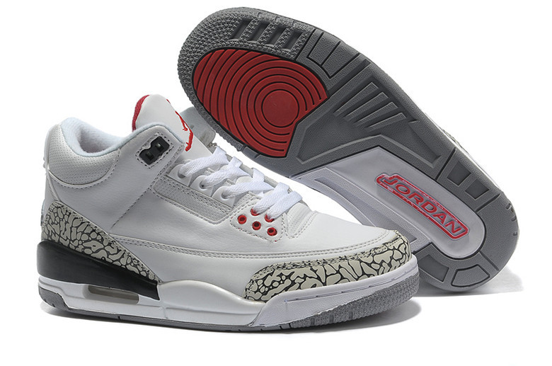 Real 2015 Air Jordan 3 Retro White Cement Grey Red Lover Shoes