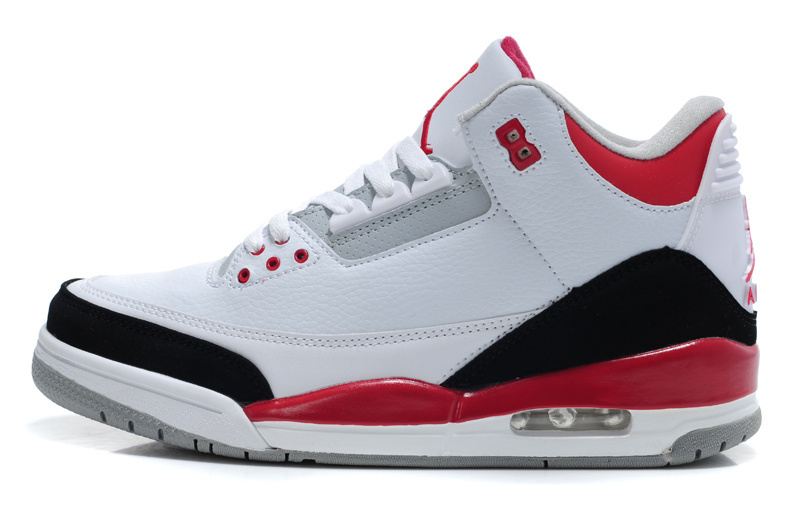 Real 2015 Air Jordan 3 Retro White Red Black Lover Shoes