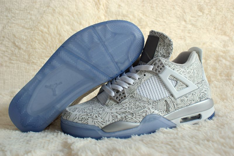 Real 2015 Air Jordan 4 Retro White Silver Shoes