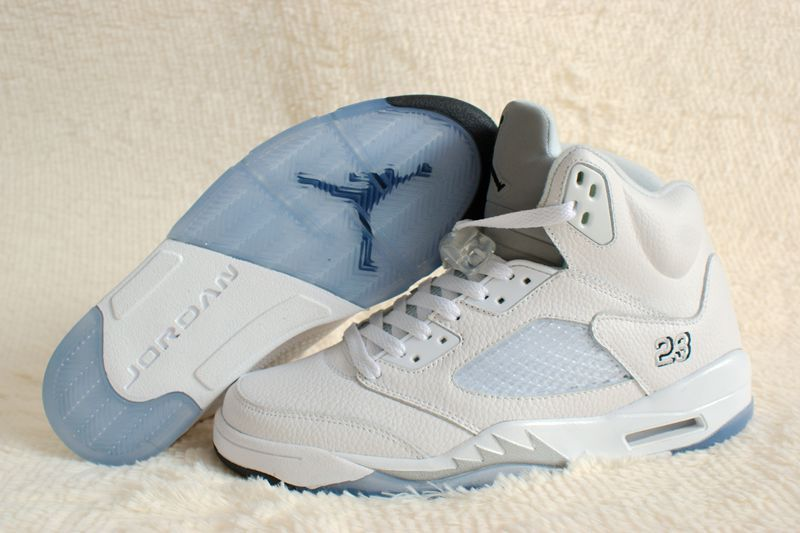 Real 2015 Air Jordan 5 Retro All White Shoes
