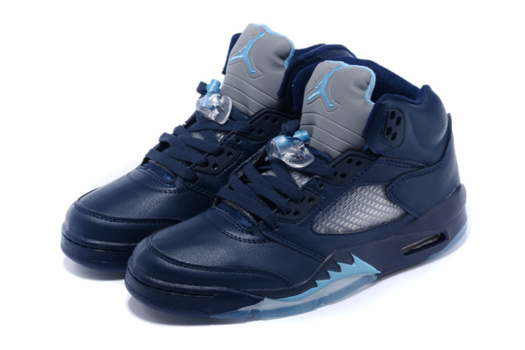 Real 2015 Air Jordan 5 Retro Sea Blue Shoes