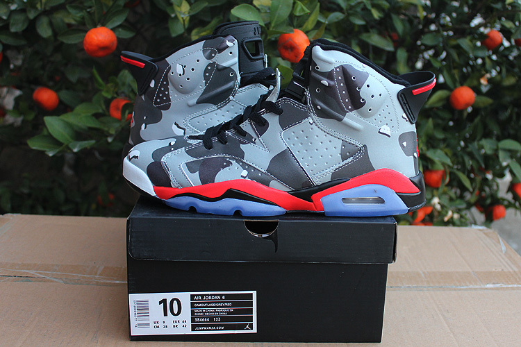 Real 2015 Air Jordan 6 Retro Grey Black Red Shoes