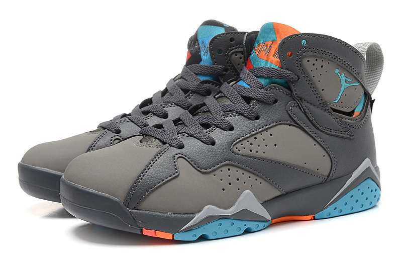 Real 2015 Air Jordan 7 Retro Grey Black Blue Shoes