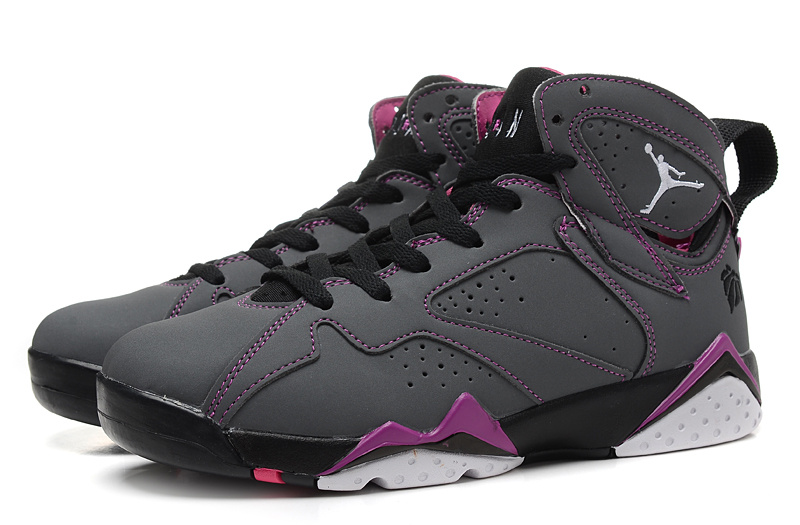 Real 2015 Air Jordan 7 Retro Grey Black Purple Women Shoes