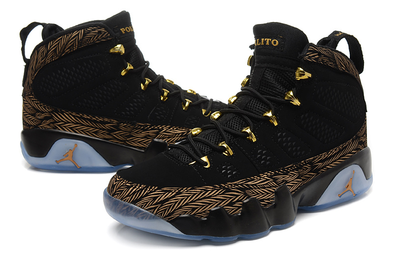 Real 2015 Air Jordan 9 Retro Black Gold Shoes