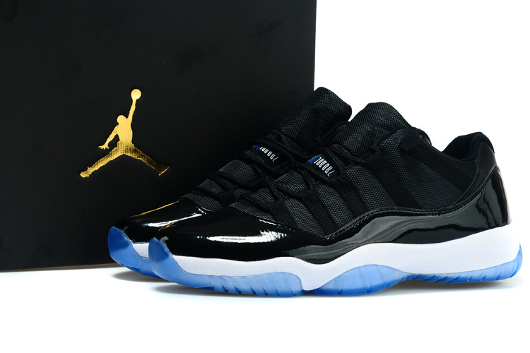 2015 Air Jordan 11 Low Black White Blue Shoes