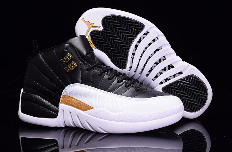 2016 Newest Air Jordan 12 Black White Gold On Sale