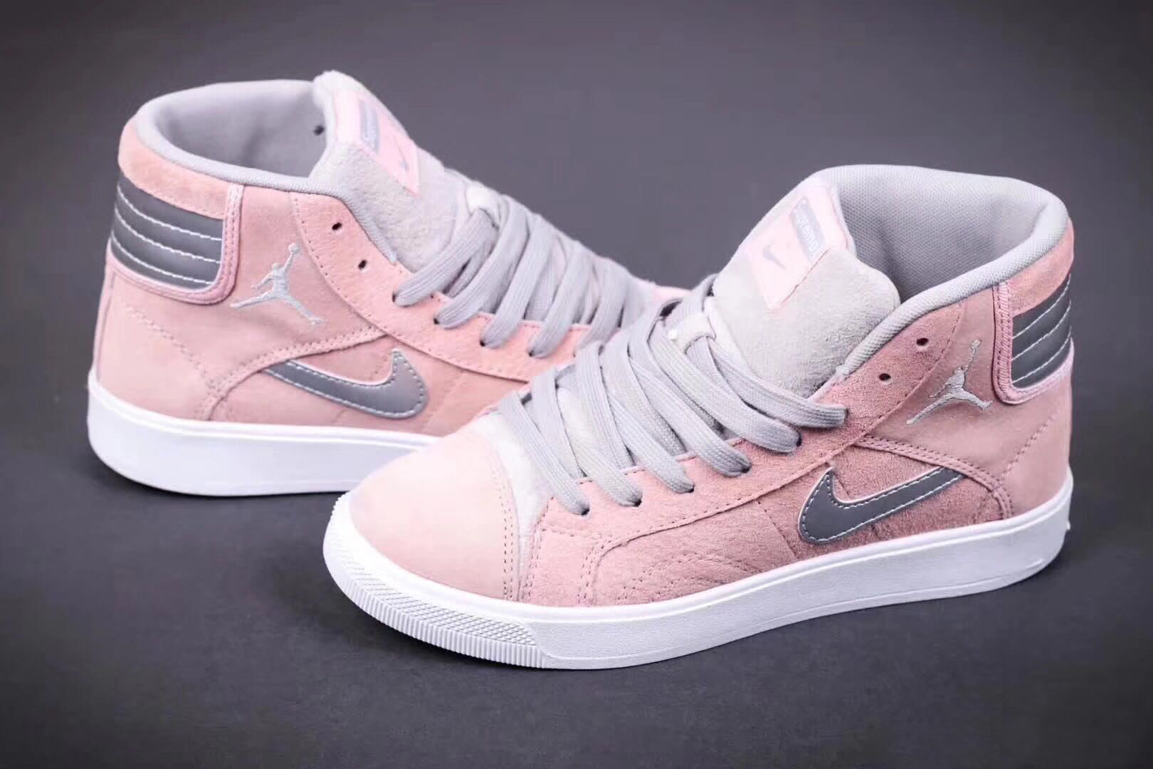 2017 Air Jordan 1 New Year Grey Pink Grey Shoes For Women
