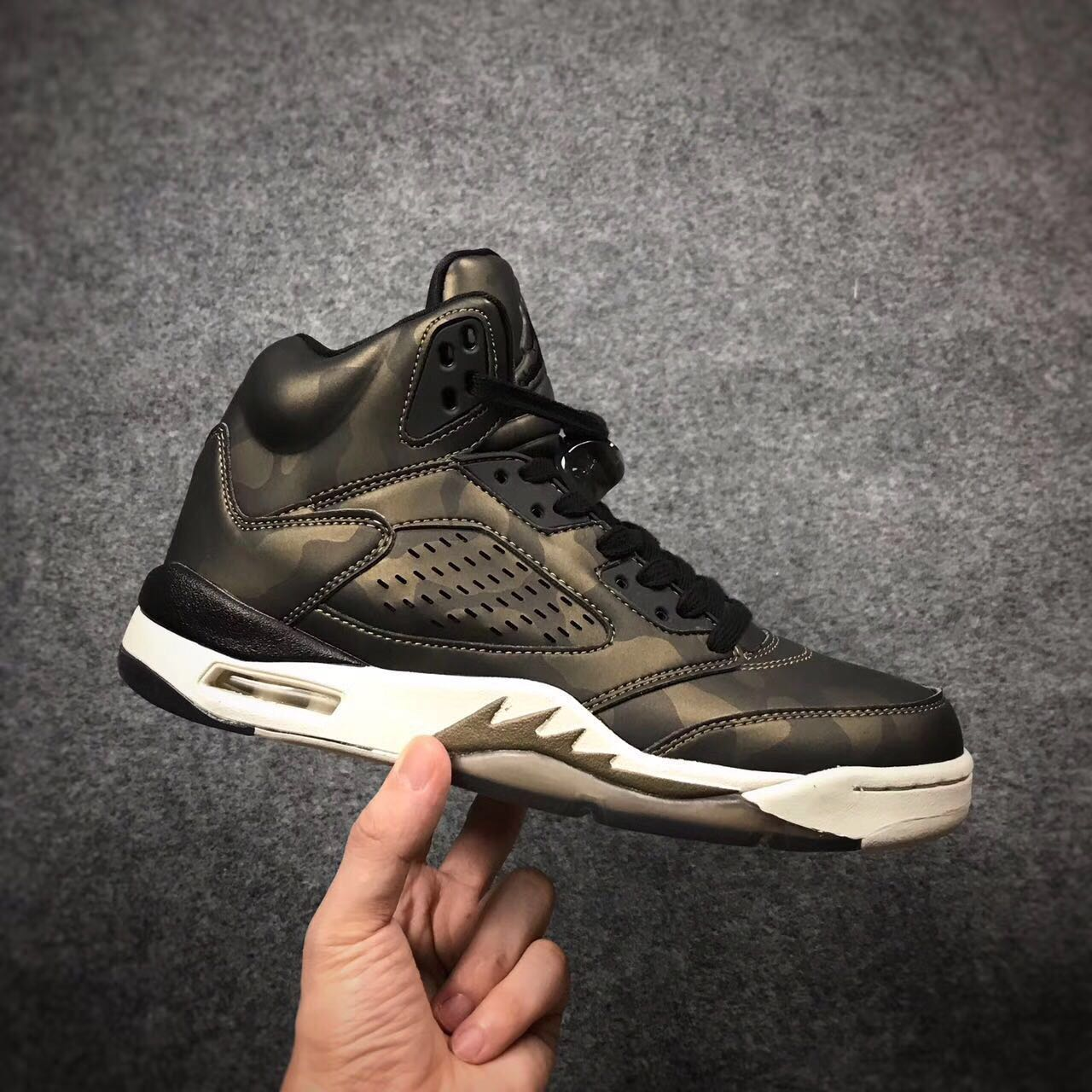 2017 Jordan 5 Premium Heiress Metallic Field Gold Camo Shoes