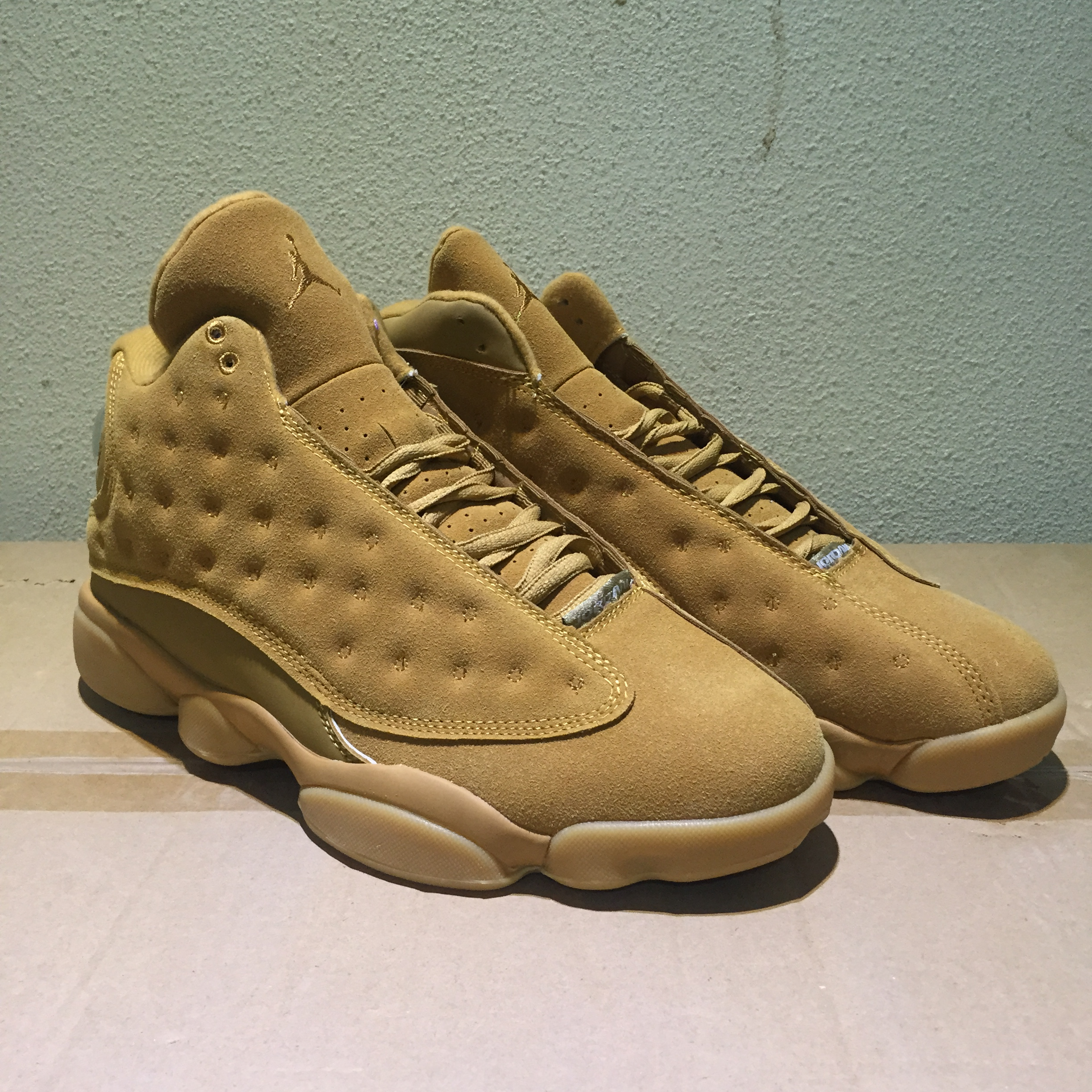 2017 Men Air Jordan 13 All Wheat Yellow Shoes