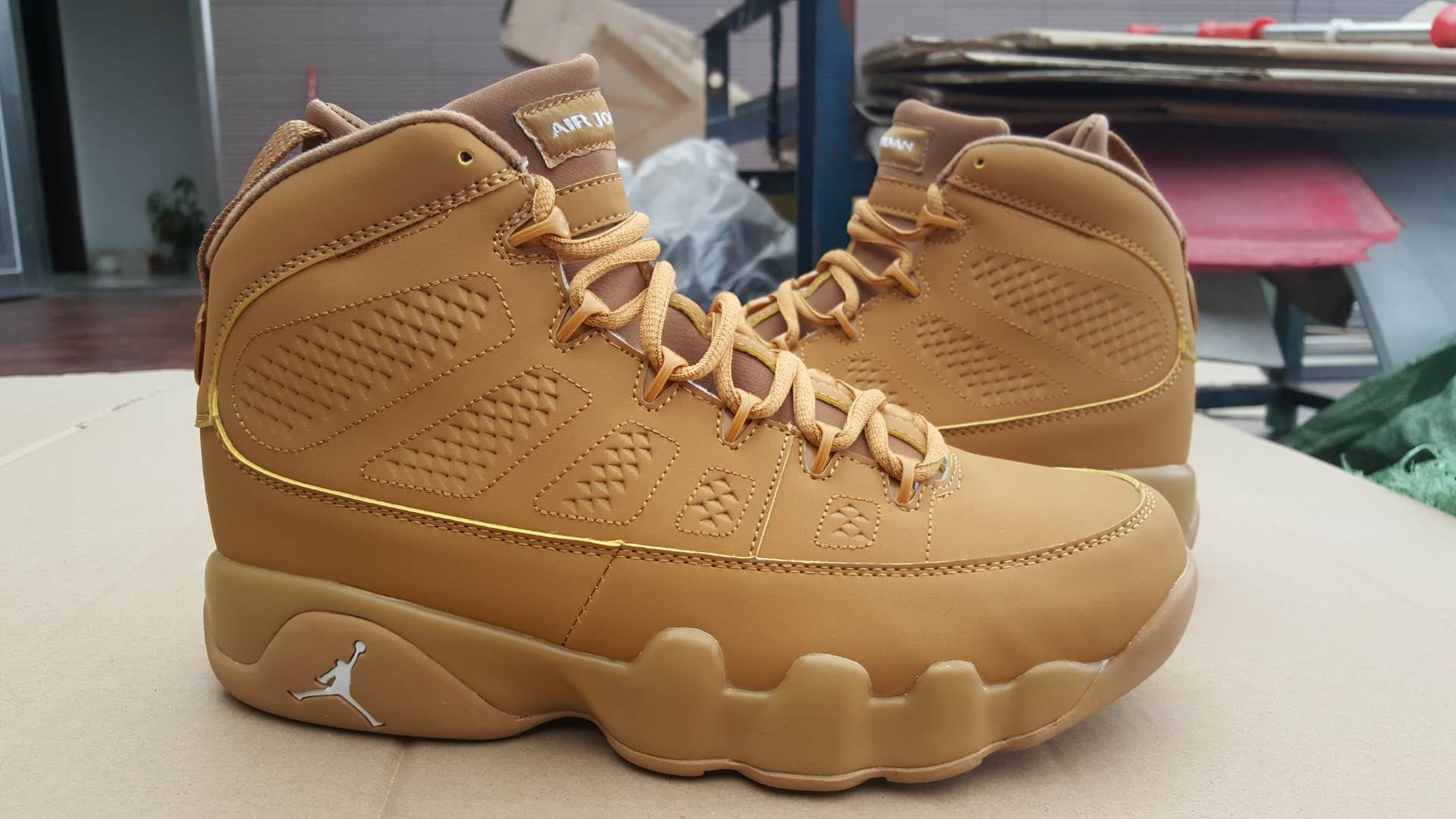 2017 Men Air Jordan 9 All Wheat Yellow Shoes
