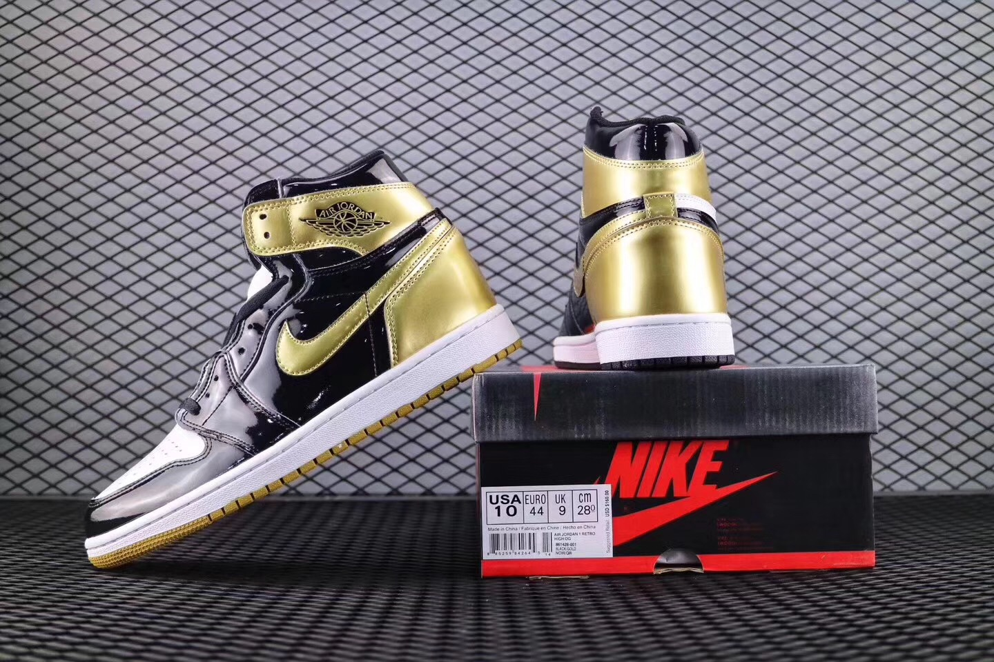 2017 Men Jordan 1 Top3 AJ1 ComplexCon Black Gold Shoes
