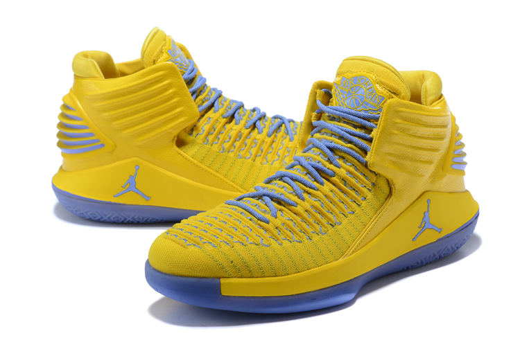 2017 Men Jordan 32 Yellow Jade Blue Shoes