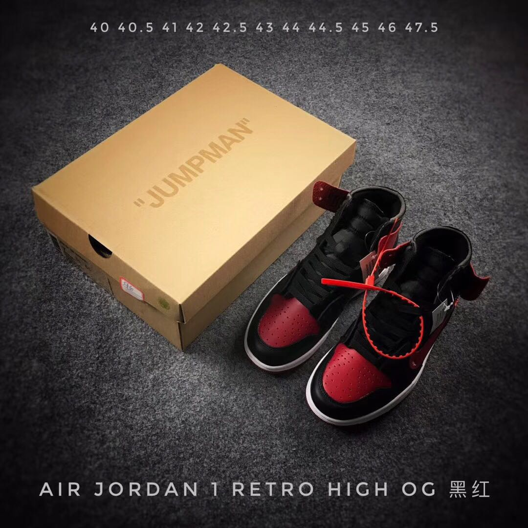 2017 Men OFF-WHITE x Air Jordan 1 Bred Shoes