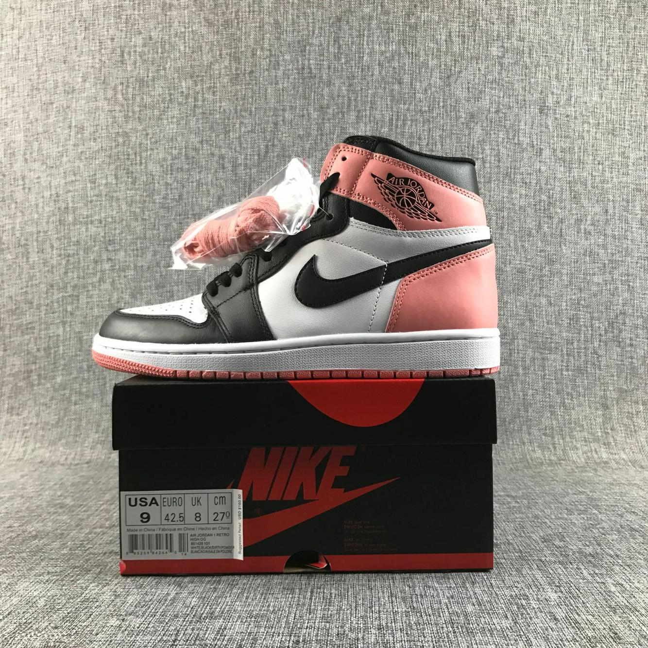 2017 Women Air Jordan 1 Flyknit Black Pink White